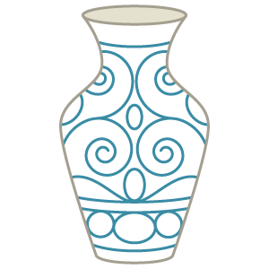 white vase with blue designs