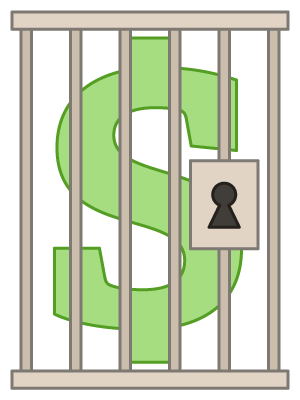 Dollar sign behind bars