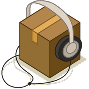 box with headphones on