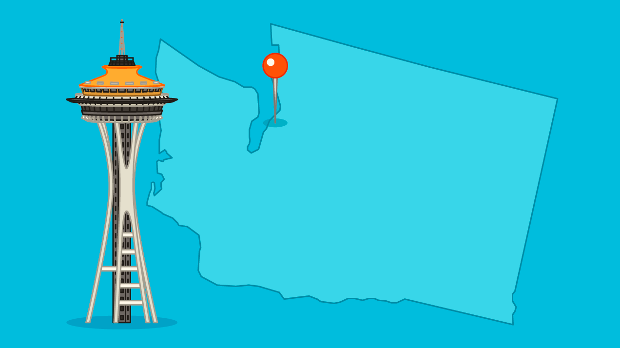 Seattle space needle on map