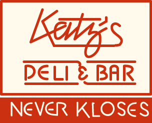 Sign for Katz's Deli & Bar.