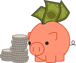 piggy bank with money and coins