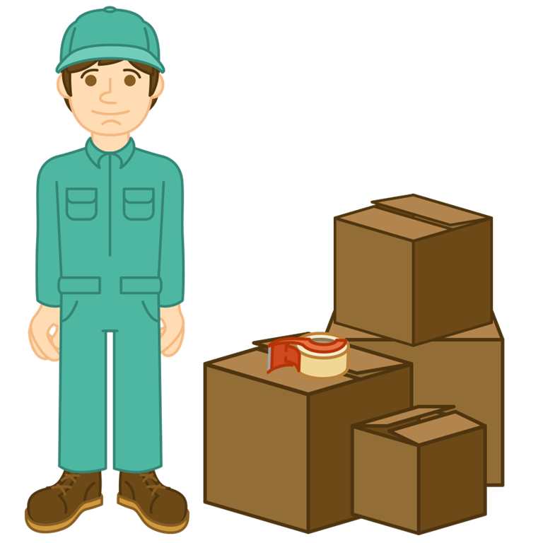 Moving man in blue next to box pile