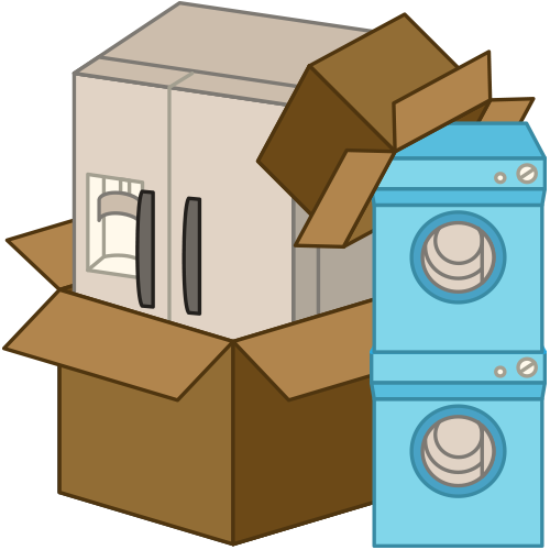refrigerator and appliances in boxes