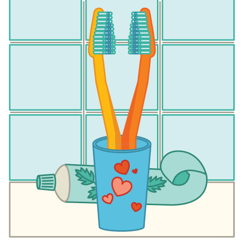 two toothbrushes in a cup