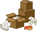 Moving boxes, packing materials, tape
