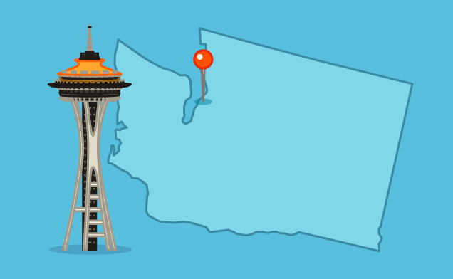 Seattle space needle and map point illustration