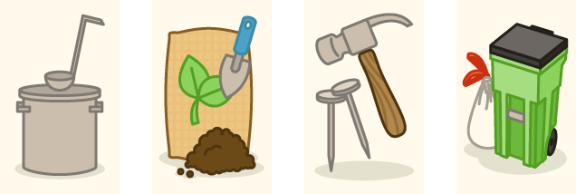 Gardening tools and trash bins